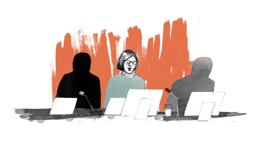 Illustration av tre personer i ett presidium, till exempel kommunfullmäktige.