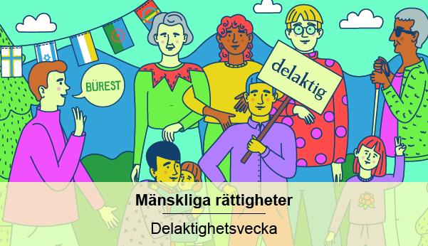En illustration av människor med olika hudfärg, kön och funktionsförmåga.