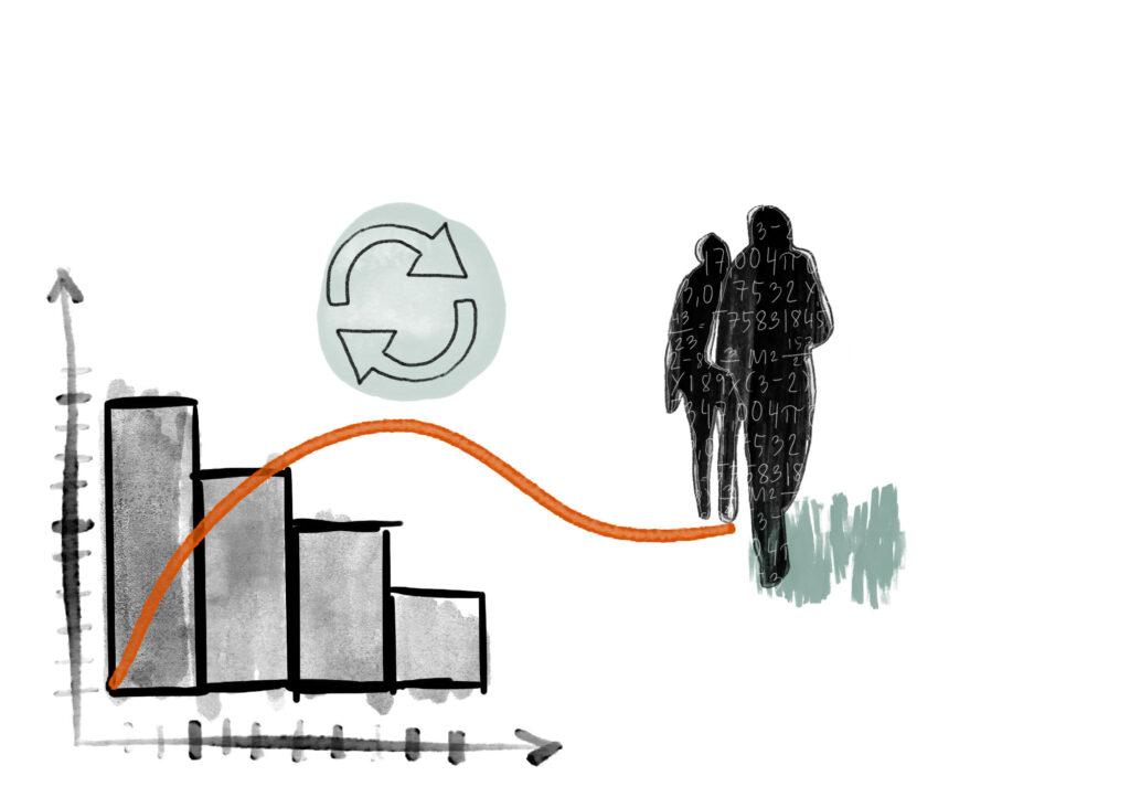 En illustration med statistik-symboler, till exempel en graf.