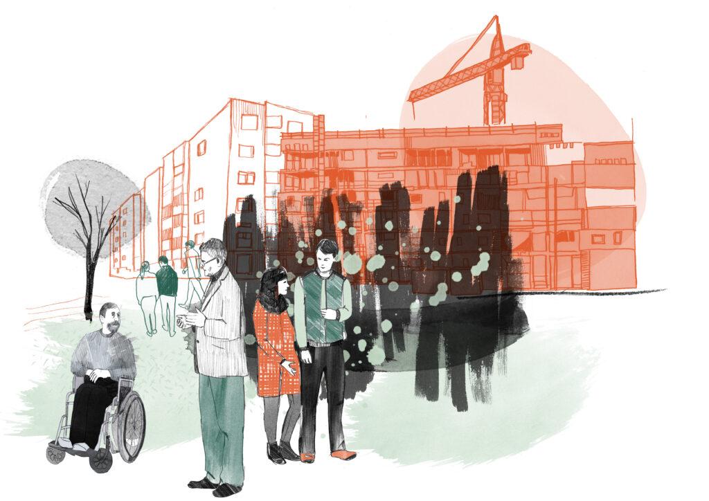 Illustration av människor i utemiljö.