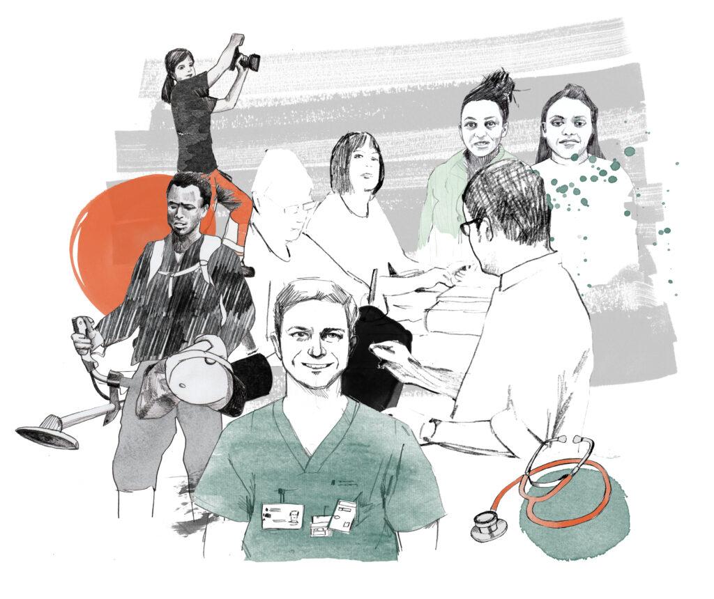 Illustration av människor med olika yrken, till exempel läkare, lärare, snickare, skogsarbetare.