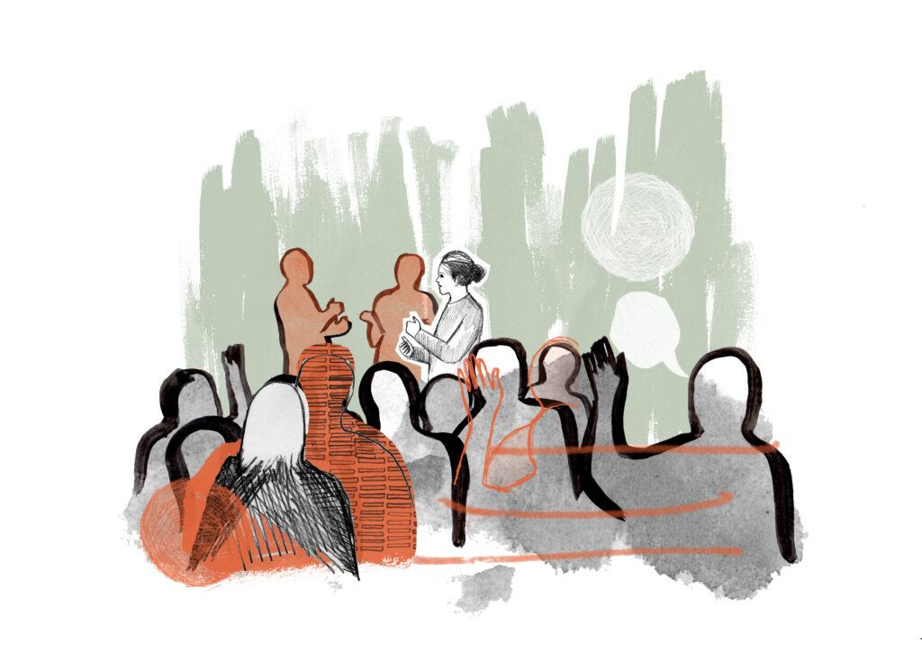 Illustration av en grupp människor som pratar med varandra.