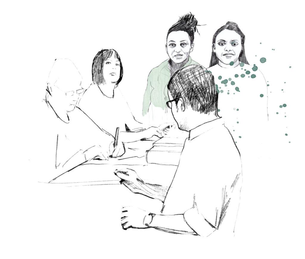 Illustration av människor som sitter vid ett bord och pratar.