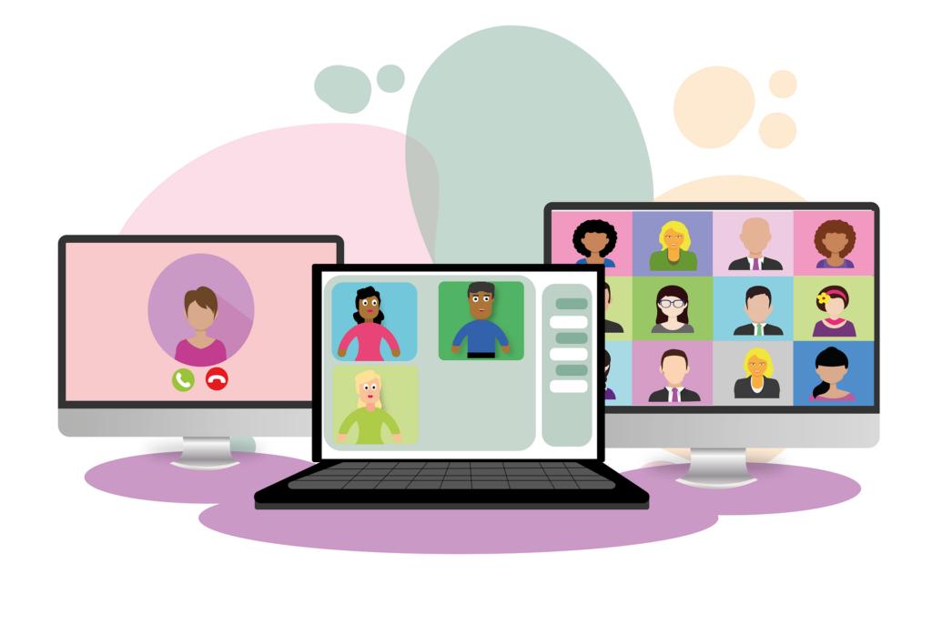 En illustration med tre bildskärmar där människor deltar i en videokonferens.